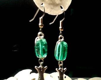 Fish  and  Bead Earrings. Aqua Glass Beads