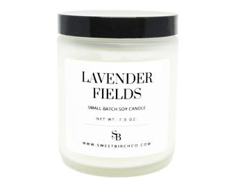 Lavender Candle - Dried Lavender - Sleep Candle for Aromatherapy - Aromatherapy Soy Candle - Relaxation Gifts - Lavender Fields
