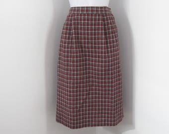 Straight Skirt size 12 Plaid Pencil Skirt haberdashery Wool Blend Skirt