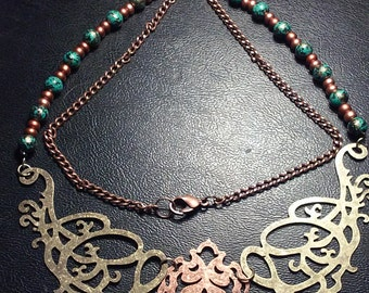 Cooper and brass metal filigree beaded necklace
