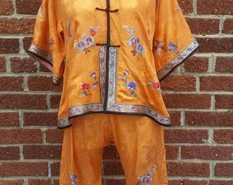 Vintage 1920s 30s Chinese Silk Pajamas // Milnor // Antique Pyjamas