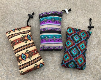 Native Aztec Padded Drawstring Bag Pipe Pouches South Western Style Sunglasses Ipod bag