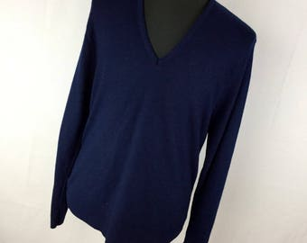 Vintage Sears Kings Road Sweater XLT XL Tall Size Blue V Neck Classic Long Sleeve Men's H6