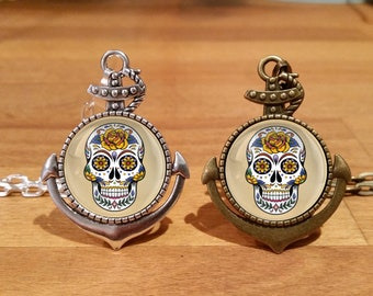 Sailor Jerry Sugar skull Necklace, Sailor Jerry necklace, tattoo necklace, Silver Plated, Antique bronze, Anchor setting (18A)