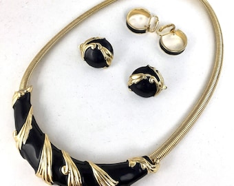Modernist Trifari Jewelry Set Black Enamel Gold Necklace and Clip On Button Earrings Button and Hoop Earrings Omega Chain Signed Designer