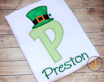 St Patricks Day Shirt - St Patricks Day Dress, Initial Shirt, Irish Shirt, Irish Baby, Matching Sibling Shirts, Leprechaun Shirt, Ireland