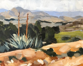 California Desert Oil Painting -  5x7 - Acton Painting by Sharon Schock