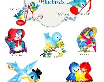 Clip Art: Vintage Bluebirds    Transparent Png  Files 071