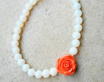 Chunky opalite White and orange necklace,Bridal bridesmaid gift,Statement necklace,White and orange wedding, White opalite rose necklace
