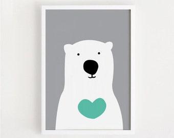 Heart Bear Printable wall decor poster baby kids room art Nursery Deco print Digital file INSTANT DOWNLOAD 8x10, 11x14, A4, 40x50