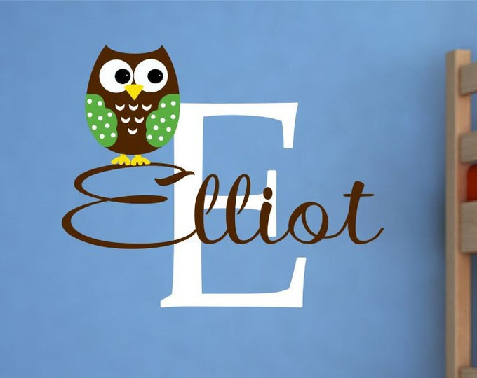 Owl Wall Decal - Name Wall Decal - Childrens Wall Decals - Owl Wall Art - Baby Name Wall Decals - Boy  Vinyl Wall Lettering