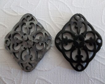 Black & Grey Filigree Diamond - 40X33mm Connector or Pendant - Lacy Laser Cut - Two-Sided - Lucite from Germany - Qty 1