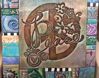 Peace Symbol - Mosaic Gift - Birthday Gift - Inspirational Gift - Polymer Clay Tile Mosiac -  MM40017-15