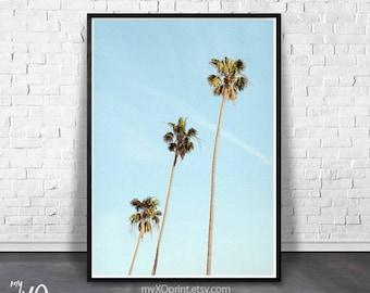 Palm Tree Art Print, Tropical Print, Beach Print, Palm Wall Decor, Blue Sky Print, Palm Tree Photo, Printable Art, California Art, Wall Art