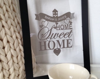 Lasercut personalized New Home gift (framed)