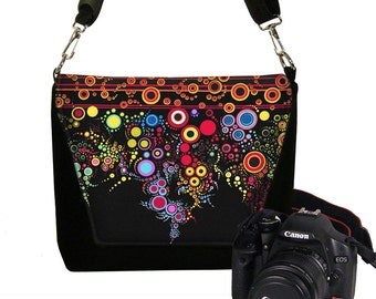 DSLR Camera Bag, Digital Camera Bag, Slr Camera Purse Water Resistant Padding Pockets colorful stripe dots MTO