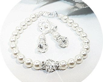 Rhinestone Jewelry, Bridal Accessories, Bridal Jewelry, Bridesmaid Jewelry, Pearl and Rhinestone, Mother of the Bride, Mother of the Groom