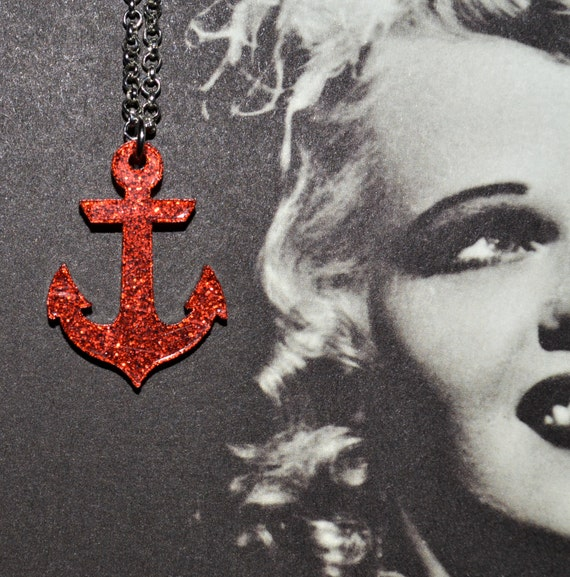 Anchor Necklace, Red Glitter Anchor, Nautical Jewelry, Rockabilly Necklace, Anchor Pendant, Glitter Necklace, Red Anchor, Glitter Jewellery