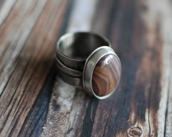 Sterling Silver Autumn Ring - Handmade ring - Earthy jewelry - Rustic ring
