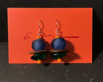 African Glass and Wooden Earrings