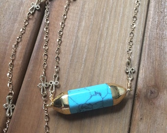 Turquoise and Gold Accent Boho Necklace Natural Surfer Style Chic
