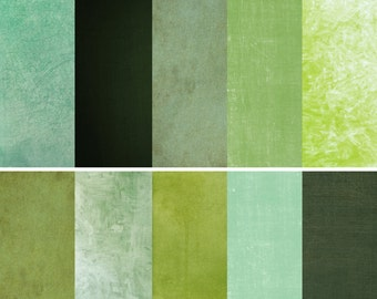 Green Digital Paper ~ Spring Greens ~ Natural Organic Colour ~ Scrapbooking Background ~ Craft Textured Papers