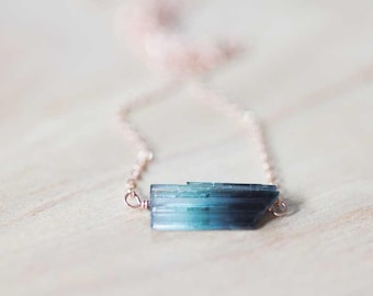 Blue Green Tourmaline Crystal Necklace on Sterling Silver, Oxidized Silver or Rose Gold Filled Chain, Raw Blue Green Tourmaline Jewelry