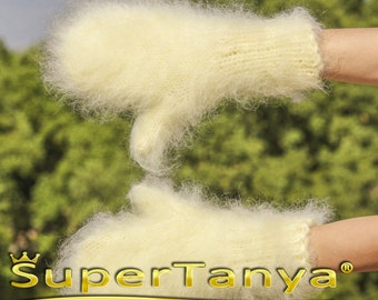 Made to order hand knit thick and fuzzy mohair mittens in ivory by SuperTanya