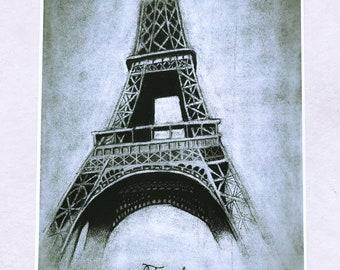 "Eiffel Tower Charcoal Drawing Print 12x18"""