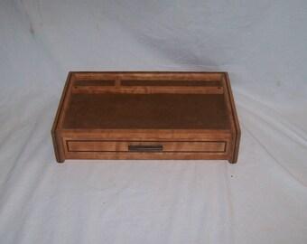 Men's Jewelry Box Valet or Dresser Box Watch Box Figured Cherry