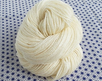 115g Undyed Eco Fingering Yarn, 100% Eco-Processed, Organic Merino Wool 2-ply--407yd Skeins, Canadian Milled