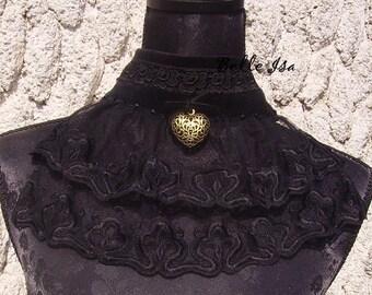 """Gothic black ruffled necklace """"Maud"""" velvet, lace, veil and Swaroski rhinestones"""