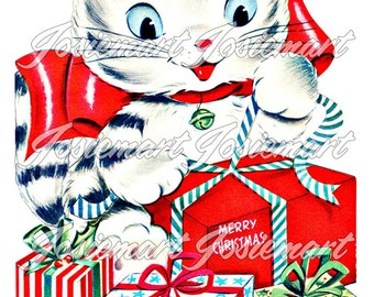 Vintage Digital Download Cat Christmas Gifts Kitten Vintage Image Collage Large JPG and PNG