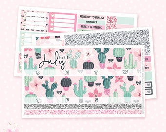 July (CACTI) Monthly Sticker Kit - 3 sheets / for the Vertical Erin Condren
