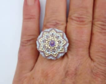 Adjustable ring miuyki and crystal single