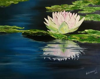 Water Lilies Painting Original Oil Painting Impressionism Painting Flowers Painting Oil Wall Art Canvas Fine Art Floral Painting On Canvas