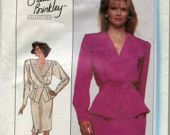 1980s Two Piece Dress Pattern Simplicity 8906 V-Neck Long Sleeves Suit Skirt Jacket Womens Vintage Sewing Patterns Size 12 uncut