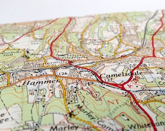 Guildford #4 - Haslemere - Recycled Vintage Map Notebook