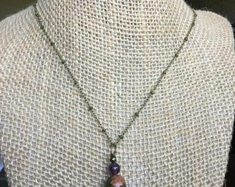 Unakite charm necklace, amethyst charm necklace, cherry Quartz