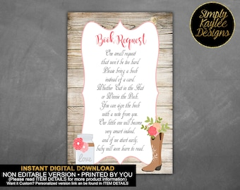 INSTANT DOWNLOAD Cowgirl Baby Shower Book Request Card