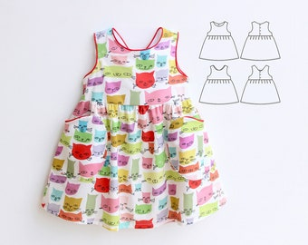 KITTY Girl Baby Girl Dress sewing pattern Pdf, Overall Jumper Pinafore pattern,  newborn up to 10 years, Instant Downlad