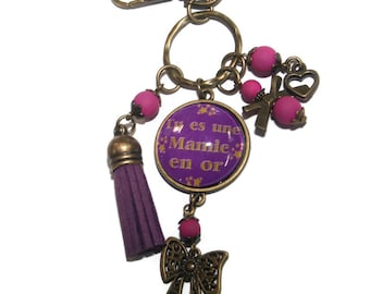 Door key/bag charm you're a grandma in gold / Harbor FRANCE free
