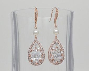 Rose Gold Bridal Earrings, Cubic Zirconia Crystals, Teardrop, Swarovski Pearls, Ear Wires, Aubrey Earrings - Will Ship in 1-3 Business Days
