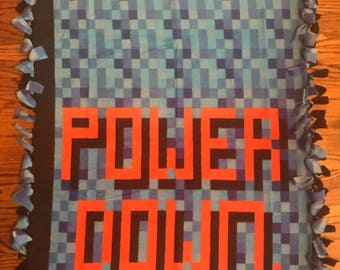 Video Game Power Down Fleece Tie Blanket