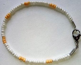 Hand made bracelet from white Czech Glass beads Natural Peach  Czech Glass beads
