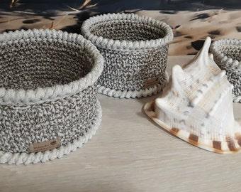 Rope baskets -  Set of 3 crochet baskets - Decorative basket - Crochet basket -  Crochet home decoration - Grey baskets