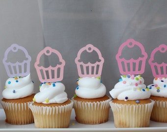 Pink and Purple Retro Cupcakes Shower or Birthday Party Cupcake Toppers