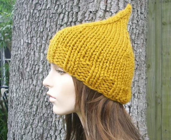 Knit Hat Womens Hat - Yellow Gnome Hat Mustard Yellow Knit Hat - Yellow Hat Yellow Beanie Mustard Hat Womens Accessories Winter Hat