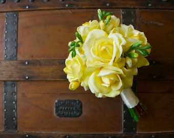 Yellow Rose Bouquet with Yellow Freesia (Real Touch Flowers, Artificial Bouquet, Light Yellow and Green Bouquet)