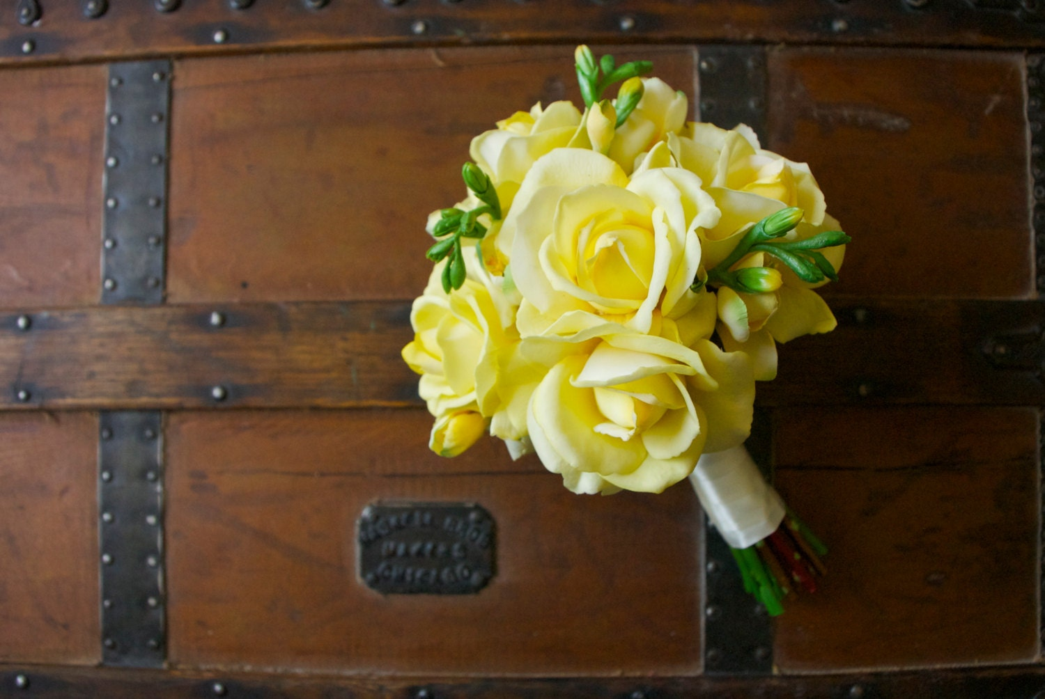 yellow rose bouquet with yellow freesia real touch flowers